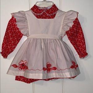 Vtg Nanette red dress with cream smock